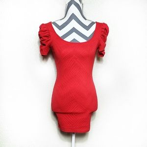 Puff sleeve bodycon dress - Red